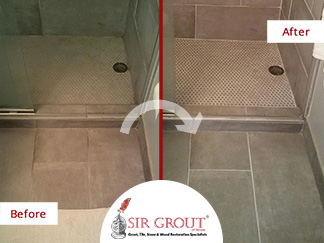 Before and After Picture of a Bathroom Grout Recoloring Service in St. Petersburg, Florida