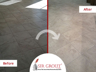 Before and After Picture of a Tile Floor Grout Cleaning Service in Land O' Lakes, Florida