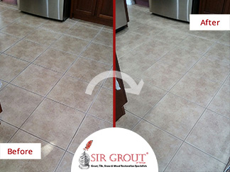 Before and After Picture of a Kitchen Floor Grout Cleaning Service in New Port Richey, Florida