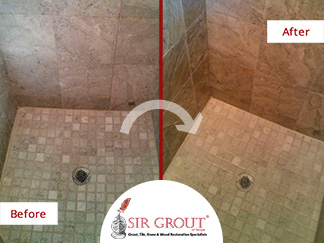 Before and After Picture of a Travertine Shower Grout Cleaning in Clearwater, Florida