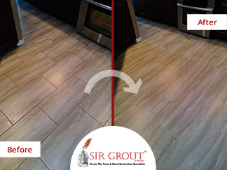 Before and After Picture of a Tile Floor Grout Cleaning Job in Lutz, Florida