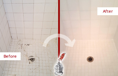 Before and After Picture of a Arbor Greene Bathroom Re-Caulked To Repair Damaged Caulking