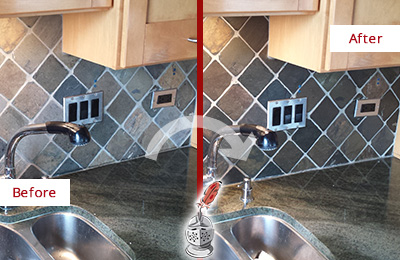 Before and After Picture of a Arbor Greene Backsplash Caulked to Fix and Prevent Water Leaks