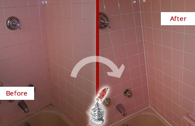 Before and After Picture of a Arbor Greene Bathtub Caulked to Eliminate Mold