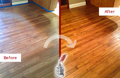 Before and After Picture of a Hunter's Green Wood Sandless Refinishing Service on a Dull Floor to Recover Its Sheen