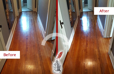 Before and After Picture of a Hunter's Green Wood Sandless Refinishing Service on a Floor to Eliminate Scratches