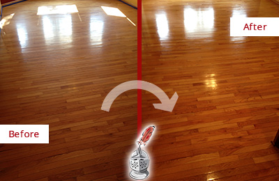 Before and After Picture of a Hunter's Green Wood Sandless Refinishing Service on a Room Floor to Remove Scratches