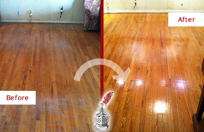 Before and After Picture of a Hunter's Green Wood Sandless Refinishing Service on a Stained Floor