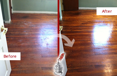 Before and After Picture of a Hunter's Green Wood Sandless Refinishing Service on a Dull Floor to Remove Stains