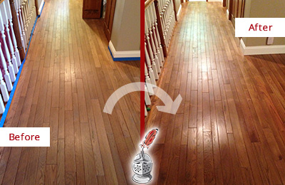 Before and After Picture of a Hunter's Green Wood Sandless Refinishing Service on a Worn Out Floor