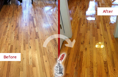 Before and After Picture of a Hunter's Green Wood Sandless Refinishing Service on a Worn Out Hallway