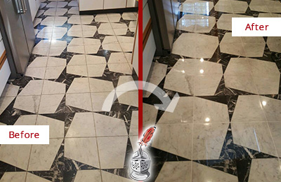 Before and After Picture of a Dull Pebble Creek Marble Stone Floor Polished To Recover Its Luster