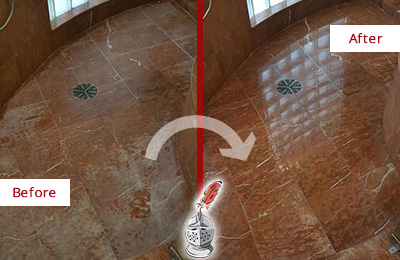 Before and After Picture of a Pebble Creek Marble Stone Shower Polished to Eliminate Mineral Deposits
