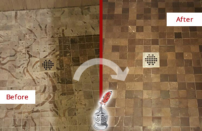 Before and After Picture of a Stained Bassett Creek Marble Shower Floor Cleaned to Remove Etching