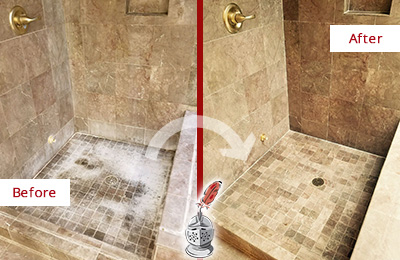 Before and After Picture of a Bassett Creek Travertine Shower Cleaned to Eliminate Water Spots