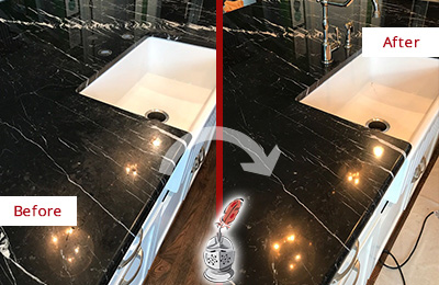 Before and After Picture of a Hunter's Green Marble Kitchen Countertop Stone Sealed to Avoid Water Damage