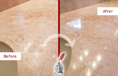 Before and After Picture of a Hunter's Green Marble Stone Vanity Top Sealed to Avoid Water Marks