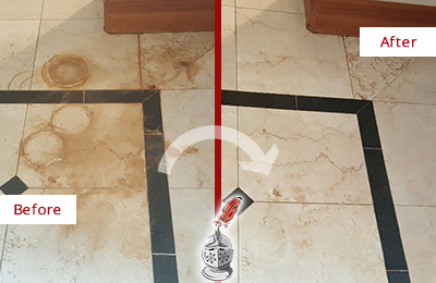 Before and After Picture of a Greater Sun Center Marble Floor Honed to Remove Rust Stains