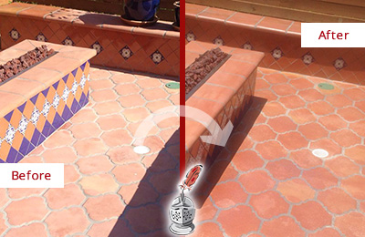 Before and After Picture of a Clearwater Hard Surface Restoration Service on a Dull Terracotta Patio Floor to Recover Its Color