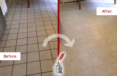 Before and After Picture of a Wesley Chapel Kitchen Tile Floor with Recolored Grout