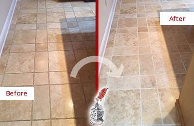 Before and After Picture of a Wesley Chapel Travertine Kitchen Floor Recolored Grout