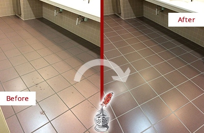 Before and After Picture of Dirty Hudson Office Restroom with Sealed Grout