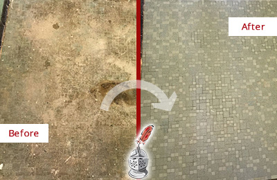 Before and After Picture of a Greater Carrollwood Mosaic Shower Cleaned to Eliminate Embedded Dirt