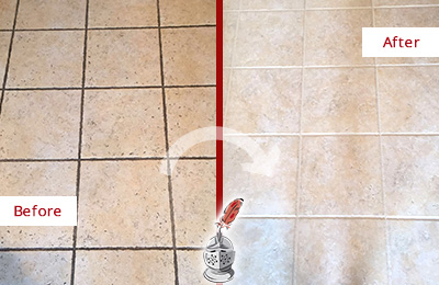 Before and After Picture of a Greater Carrollwood Ceramic Floor Cleaned to Remove Soil