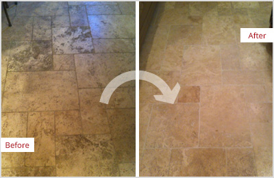 Sir Grout Tampa Tan Marble Clean and ClearSeal