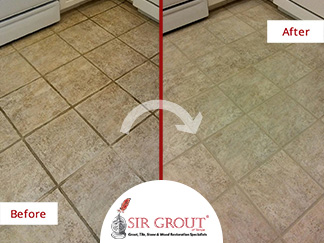 Before and After Picture of a Grout Cleaning Service in Tampa, FL
