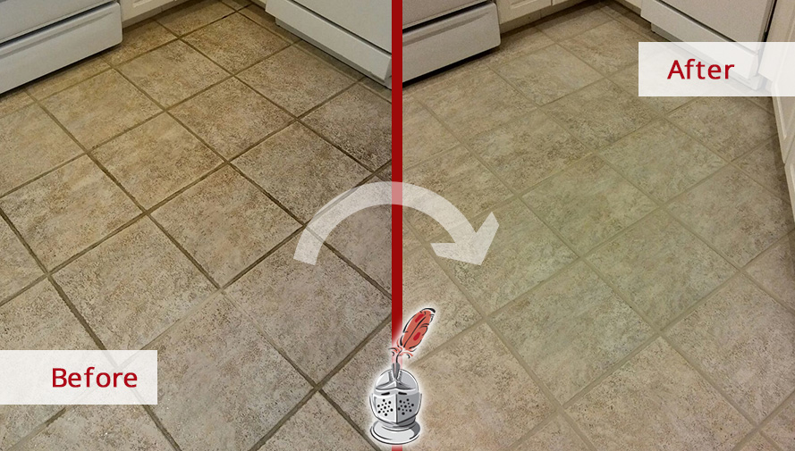 Before and After Picture of a Kitchen Floor Grout Cleaning Service in Tampa, FL