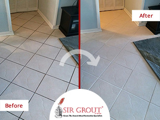 Before and After Picture of a Tile and Grout Cleaners Service in St Petersburg, FL