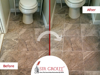 Before and After Picture of a Tile Bathroom Grout Cleaning Service in Clearwater, Florida