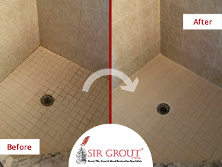 Before and After Picture of a Tile Shower Grout Cleaning in Palm Harbor, Florida
