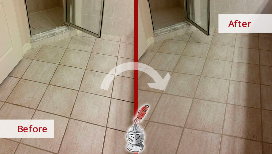 Before And After Picture Of A Bathroom Floor Grout Cleaning In Tampa,  Florida