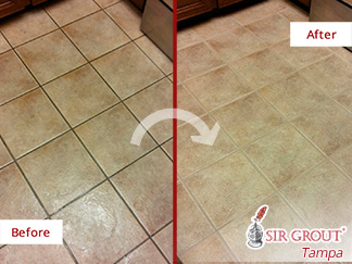 Before and After Picture of a Tile Floor Grout Sealing Job in Sun City Center, Florida
