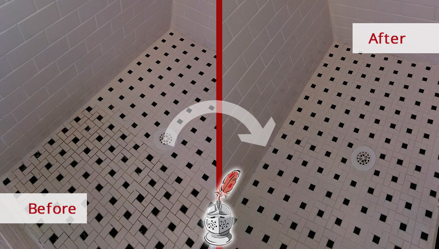 Before and After Picture of a Bathroom Floor Grout Cleaning Job in Tampa, Florida