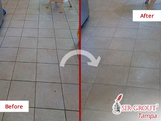 Before and After Picture of a Kitchen Tile Floor Grout Sealing Service in Land O' Lakes, Florida