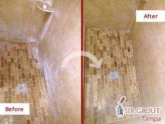 Before and After Picture of a Travertine Shower Floor Stone Cleaning Service in Land O' Lakes, Florida