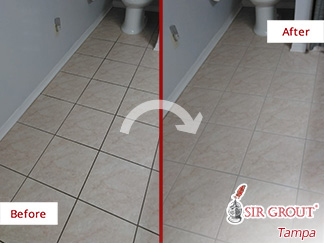 Before and After Picture of a Bathroom Floor Grout Sealing Service in Sun City Center, Florida