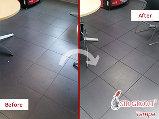 Before and After Picture of a Tile Floor Grout Sealing Service in St. Petersburg, FL