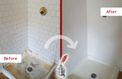 Before and After Picture of a Grimy Tile Shower Restored, Cleaned and Sealed