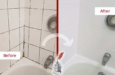 Before and After Picture of a Bathroom Grout Caulking in a Bathtub Area