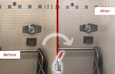 Before and After Picture of a Grimy Hospital Shower Restored, Cleaned and Sealed to Remove Mold and Dirt