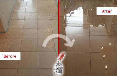 Before and After Picture of a Dull Hallway Marble Floor Honed and Polished to a Glossy Shine