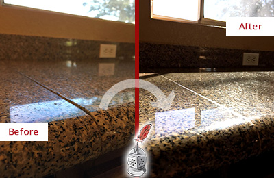 Before And After Picture Of A Honed Polished Granite Countertop With Damaged Seam Line