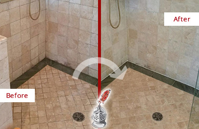 Before and After Picture of Moldy Travertine Shower Honed and Polished to Remove Mold