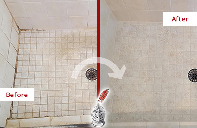 Before and After Picture of a Gulfport Shower Caulked to Fix Cracks