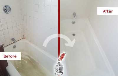 Before and After Picture of a Gulfport Bathtub Caulked to Repair Cracks