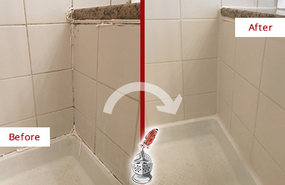 Before and After Picture of a Bloomingdale Shower Caulked to Repair Damaged Caulking
